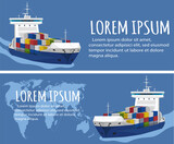 Commercial sea shipping flyer template set - 157419784