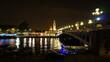 Night shot from iconic illuminated Alexander III bridge, Paris, France