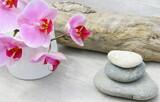 orchidée rose,empilement de galets,ambiance zen sur fond bois