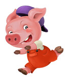 cartoon isolated young pig in work outfit looking / isolated / illustration for children