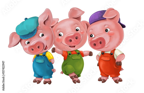 cartoon isolated young pigs in work outfit standing and looking on each other / isolated / illustration for children - 157422947