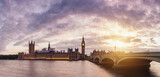 London Panorama beautiful sunset and dramatic clouds