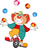 Illustration of a Cute Cat Clown Juggler . Cartoon Character