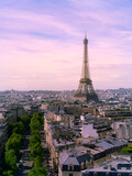 View of Paris with Eiffel tower from Are de Triomphe