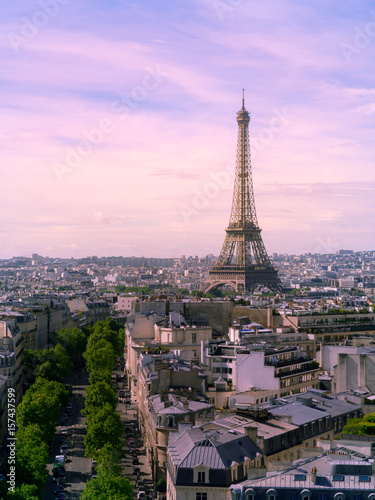 Tuinposter Purper View of Paris with Eiffel tower from Are de Triomphe