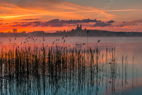 Foto op Canvas Zalm Sunrise, Masurian Lake District, Camaldolese Monastery, Lake Wigry