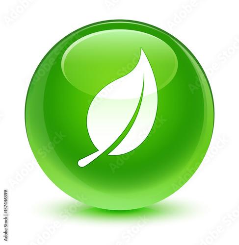 Leaf icon glassy green round button - 157446399