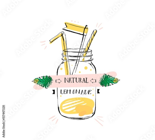 Hand drawn vector abstract creative sign stamp with handwritten modern calligraphy quote natural lemonade on glass jar isolated on white background.Menu,logo design,sticker,tag,decoration,label. - 157447328