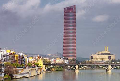 View of Seville in Andalusia and Sevilla Tower