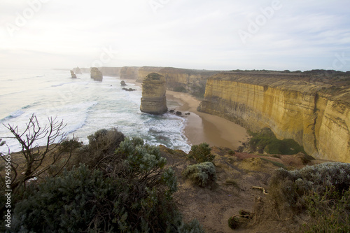 Loch Ard Gorge is one of the most popular tourist attractions in Victoria Australia, The sunset over the fog and the Twelve Apostles, called the Great Ocean Road Poster