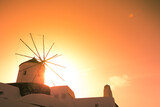 Windmill on Santorini island, Greece. Typical Aegean and cycladic architecture.