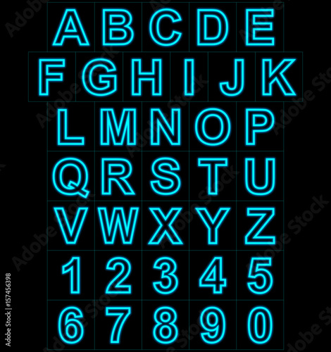 letters and numbers neon lights outlined isolated on black Poster