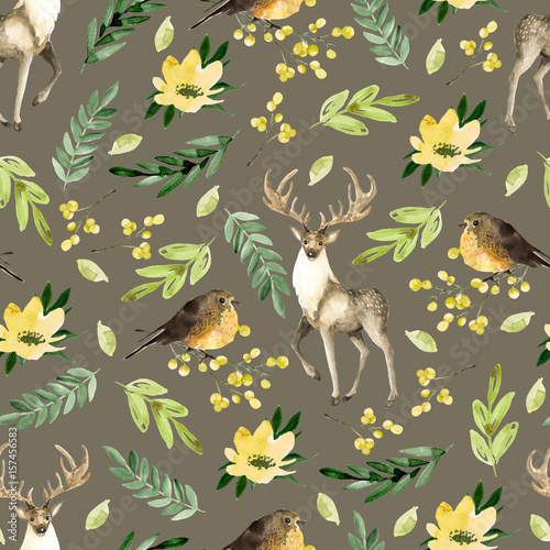 Materiał do szycia Seamless brown pattern with deer and birds. Watercolor hand drawn