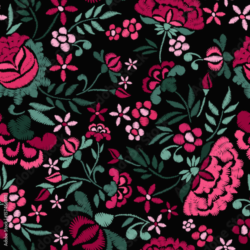Embroidery seamless pattern with beautiful flowers. Vector floral ornament on black background. Embroidery for fashion textile and fabric. - 157456910