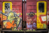Colorfuly painted train wagons, street art concept
