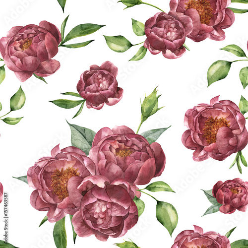 Watercolor pattern with peony and greenery. Hand painted floral ornament with flowers and leaves isolated on white background. Vintage botanical illustration for design. - 157463587