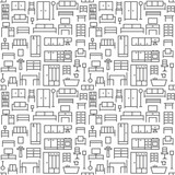 Furniture themed vector seamless outline pattern background 1 - 157467729