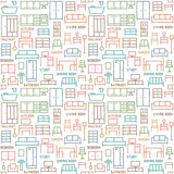 Hand drawn furniture themed vector seamless pattern background 2 - 157467759