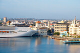 View of the historic center of Havana with a cruise ship