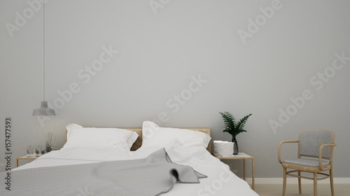 3D interior rendering bedroom space and wall decoration