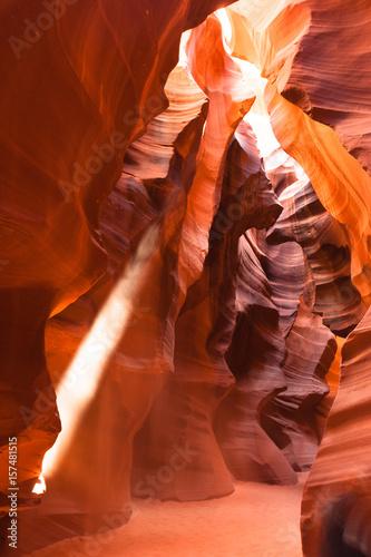 Fotobehang Rood paars Sunlight Beams into Antelope Slot Canyon Arizona