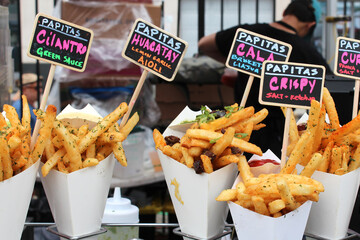 Cone of French fries in Brooklyn Flea Market / USA