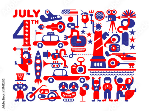 Fotobehang Abstractie Art USA Independence Day