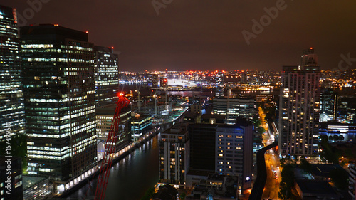 Foto op Aluminium Las Vegas Aerial night photo of iconic Canary Warf in isle of Dogs skyline, London, United Kingdom
