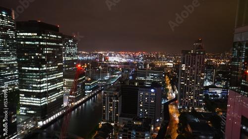Foto op Aluminium Las Vegas Aerial night photo of iconic Canary Warf in isle of Dogs skyline, London, United Kingdom