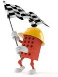 Brick character with racing flag