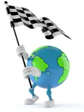 World globe character with racing flag