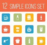 Set Of 12  Icons Set.Collection Of Bottle, Soda, Turkish Coffee And Other Elements.