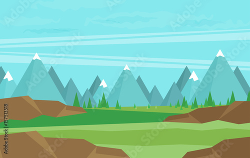 Aluminium Boerderij Natural landscape. Vector illustration.