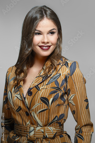 Beautiful fashion model in jacket with print Poster