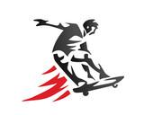 Passionate Extreme Sports Athlete In Action Logo - Skateboarding