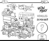 counting vehicles coloring page