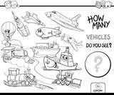 counting vehicles coloring book