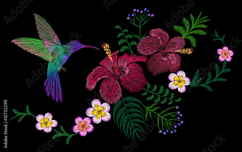 Obraz na Szkle Hawaii flower embroidery arrangement patch. Fashion print decoration plumeria hibiscus palm leaves. Tropical exotic blooming bird hummingbird vector illustration