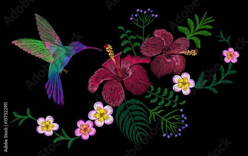 Fototapeta Hawaii flower embroidery arrangement patch. Fashion print decoration plumeria hibiscus palm leaves. Tropical exotic blooming bird hummingbird vector illustration