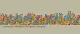 City panorama, hand drawn cityscape, vector drawing architecture illustration - 157555759