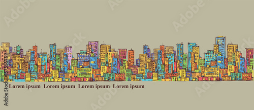City panorama, hand drawn cityscape, vector drawing architecture illustration
