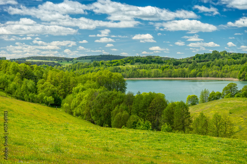 Fototapety, obrazy : Spring landscape, Lake among the greenery