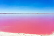 Quadro Beautiful pink water and clear blue sky near Rio Lagartos, Mexico