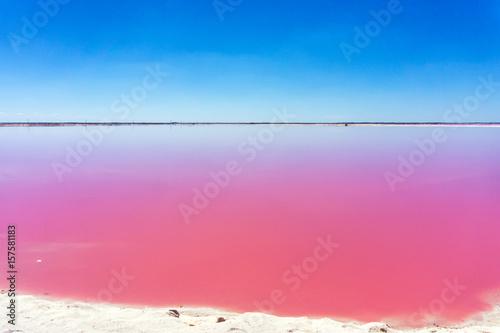 Deurstickers Rio de Janeiro Beautiful pink water and clear blue sky near Rio Lagartos, Mexico