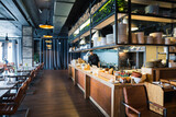 Fototapety modern loft style restaurant decoration with hanging light bulb beer pub and bar.