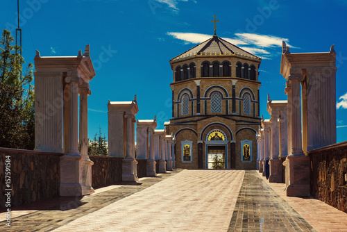 Aluminium Cyprus Famous orthodox monastery of Kykkos, Holy monastery of the Virgin of Kykkos in Cyprus. Way to the church near king Macarius grave. Travel sightseeing image