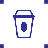 Disposable coffee cup vector flat pictograph line icon stock design illustration