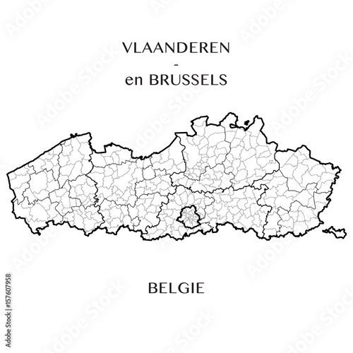 Detailed map of the Belgian Regions of Flanders and Brussels-Capital ...