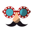 Eye glasses with mustache joke mask icon vector illustration graphic design