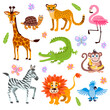 Cute jungle and safari animals vector set for kids book - 157614771